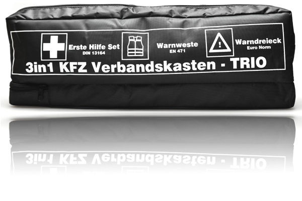 kfz trio verbandskasten kombitasche warnweste warndreieck erste hilfe kasten set ebay. Black Bedroom Furniture Sets. Home Design Ideas
